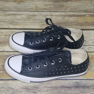 CONVERSE Black Leather Studded Sneakers Sz 6 NWOT